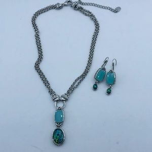 Cookie Lee Silver Tone Necklace and Earring Set